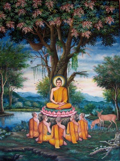 La predicazione del Gautama Buddha nel Parco dei cerbiatti a   Sarnath (Mrigadava) presso Vārāṇasī (Benares) in India