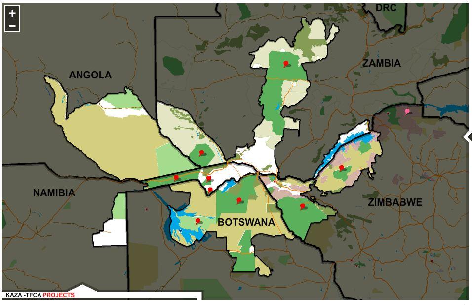 KAZA, mappa del super parco naturale africano, screenshot dal sito ufficiale